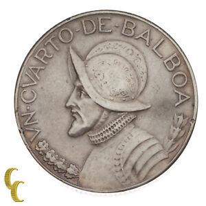 1930 Panama 1/4 Balboa Silver Coin in XF, KM# 11.1