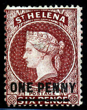St. Helena. 1882. 1d on 6d. Brown Red. SC# 25. SG 21. MNG