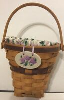 Longaberger Lilac Basket Combo Collectible Decorative Liner Protector Tie On