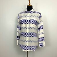 Equipment Femme Women's Size S Silk Button Front Blouse Blue Square Top Sheer
