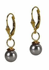 Dangle Pearl Earrings Gold Filled Gray Swarovski Crystal Pearl Grace Of New York