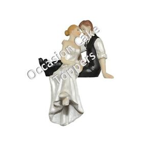 Wedding Cake Topper Bride and Groom Sitting on Cake Personalised Decoration