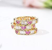 Elegant Heart Women 925 Silver Rings Pink Sapphire Wedding Rings Size 6-10