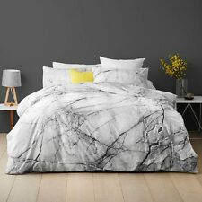 MARBLE Effect Pattern QUEEN bed QUILT DOONA DUVET COVER SET White Grey NEW