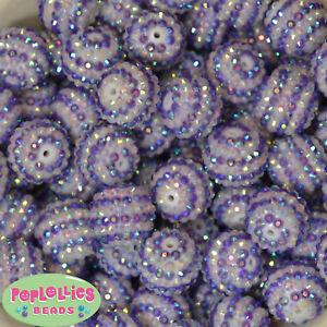 20mm Purple n White Stripe Resin Rhinestone Chunky Beads 20 pc