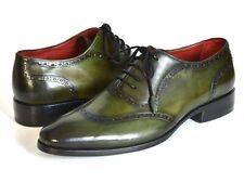 Paul Parkman Men's Green Calfskin Oxfords Handmade Shoes