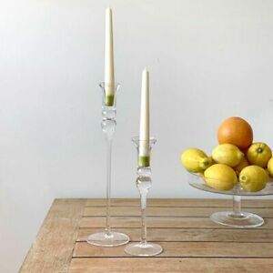 Glass Handcrafted Tall Tulip Candlestick Candle Holders - Set of 2 H36 & H24cm