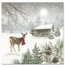 TWO Individual Paper Cocktail Decoupage Napkins Christmas Wintry Deer Snow