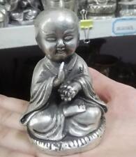 Belle argent Tibet chantant petite statue de Bouddha