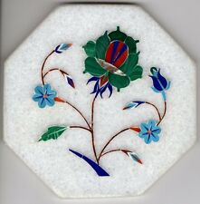 Parchin Kari Marble Inlay Art Handmade 4″ Floral Mosaic Indian Home Decor Art