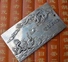 "Old chinese Tibet Silver amulet Bullion statue thangka netsuke ""双龙戏珠"" 136g"