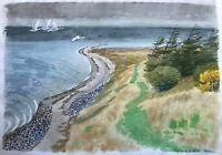 Karl Adser (1912–1995) Coast With Swans - Beach On Samsö Issehoved Denmark
