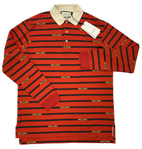 $1,300 Gucci Red Cotton long Sleeve Polo Shirt Size Large Made in Italy
