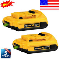 2X For DeWALT DCB203 20V 20 Volt Max XR 2.0Ah Lithium Ion Compact Battery DCB201