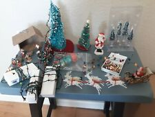 Dollhouse Miniature Christmas Trees, Ornaments, Presents, Lights, and Manger