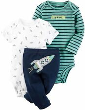 Carter's Baby Boys 3 Pc Rocket Ship Bodysuit & Pants Set NWT Size Newborn