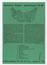 1942 Herbert Bayer PAINTINGS 1942 Willard Gallery Exhibit Announcement Bauhaus