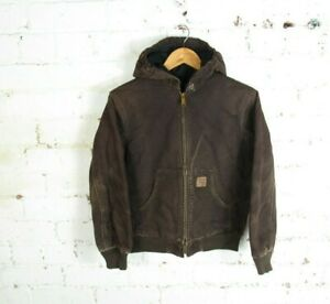 CARHARTT Hooded Chore Brown Jacket  Coat Hoodie Workwear Work Zip Hood - L 10/12