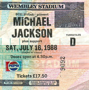 Vintage Michael Jackson Concert Ticket Stub Wembley Bad Tour 1988