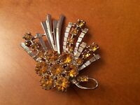 Vintage Silver Tone And Amber Floral Bouquet. Brooch.. Pin Lapel ....£9.99