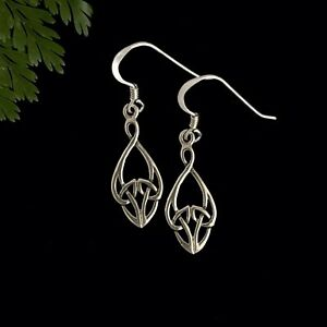 Pretty Double Sided Solid Sterling Silver Celtic Infinity Knot Earrings on Hooks