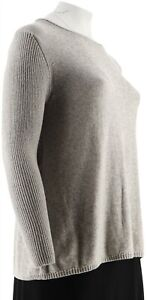 Lisa Rinna Collection Scoop Neck Long Slv Sweater Grey XL NEW A278967