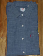 NEW MEN'S XL LEVI'S STOCK WORKSHIRT WORK SHIRT IN CHAMBRAY INDIGO BLUE