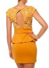 SeXy Miss Schößchen Peplum Mini Kleid Spitze Dress out cut 34/36/38 Mustard NEU