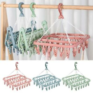 32 Peg Foldable Clip Hangers, Underwear Hangers with Clips, Plastic Clothespins