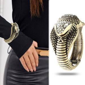 Rhinestone Cobra Hinged Snake Cuff Bangle Bracelet Egyptian Cleopatra Costume