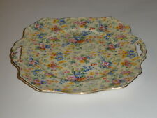 Royal Winton Chintz Handled Square Cake Plate Floral Feast Pattern 1930