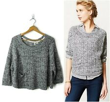 Anthropologie Moth size L Marled Swing Cropped Pullover Sweater Top Gray $88