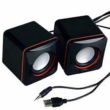 Mini Stereo Small Square 3.5 Mm Audio Jack Laptop Desktop Computer USB Speaker
