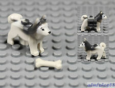 LEGO - White Gray Husky Sled Dog w/ Bone - Animal Minifigure Wolf Arctic Puppy