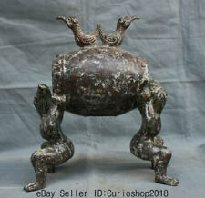 "13.2""Ancient China Bronze Ware Dynasty Dragon Human Birds Drum instrument Statue"