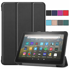 For Amazon Fire HD 8 10th Generation 2020 Leather Flip Stand Hard TPU Case Cover