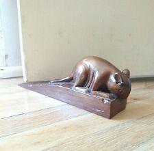 Vintage hand carved hardwood Mouse on Cheese Wedge Doorstop
