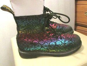 Women's Girl Dr. Martens 1460 Pascal J Black/Rainbow Croc Metallic Boots Sz 5