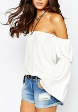New Off shoulder top long sleeve flared white + black Party Casual bardot