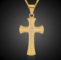 Goldkette mit Anhänger Kreuz vergoldet 18 Karat Gold Herren Damen Edelstahl