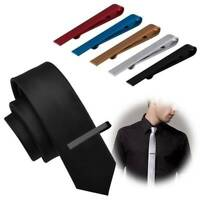 Mens Stainless Steel Silver Tone Simple Necktie Tie Bar Clasp Clip Clamp Pin
