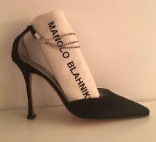 NEW Manolo Blahnik Black Satin Pump Crystal Ankle Strap-Sz 41.5 / US 10.5 - sz11