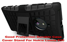 Black Strong Tough Durable Tradesman TPU Case Cover Stand for Nokia Lumia 830