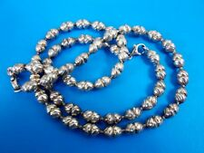 Fine Sterling Silver UNOAERRE Modernist Textured Bead Necklace & Bracelet Set
