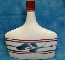 Japanese Sake Bottle Decorative Blue & Red w/Cork To Unique Slender Shape
