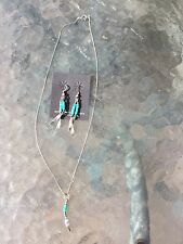 earring and pendant set Navajo Indian, Turquoise and silver