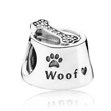 Dog Bowl Charm Woof Print Bone Bead Genuine Sterling Silver 925 Animal Pet