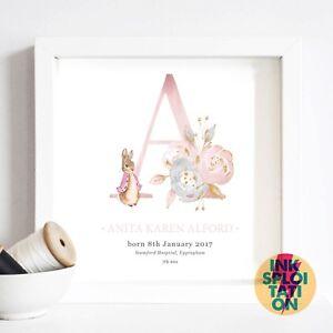 Personalised Peter Rabbit Christening Gift Nursery New Baby Beatrix Potter Print