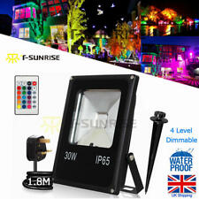 RGB 30W LED Flood Light Outdoor Garden Spotlight with Remote & Stake Waterproof