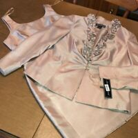 JESSICA HOWARD 2-PIECE CHAMPAGNE COCKTAIL PARTY DRESS JACKET AND DRESS SZ 12P